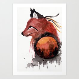 Tetrad the Bloodmoon Fox Art Print
