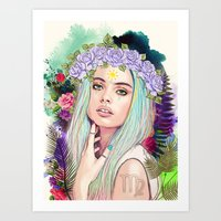 virgo Art Prints featuring Virgo by Sara Eshak