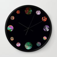solar system Wall Clocks featuring Another solar system by ShaMiLa