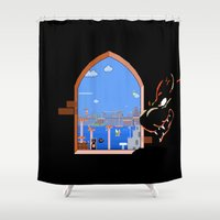 mario bros Shower Curtains featuring Our Hero Approaches (Black Background) - Mario Bros. by Studio Momo╰༼ ಠ益ಠ ༽