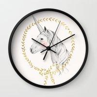 unicorn Wall Clocks featuring Unicorn by Kelli Murray