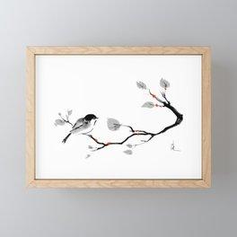 Bird on tree black and white painting Framed Mini Art Print