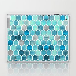 Blue Ink - watercolor hexagon pattern Laptop & iPad Skin