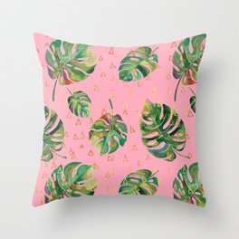 Monstera Gold // Monstera Pattern, Gold Foil Pattern, Lifestyle Digital Collage Pink Throw Pillow