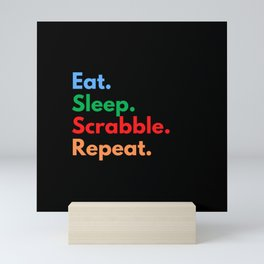 Eat. Sleep. Scrabble. Repeat. Mini Art Print