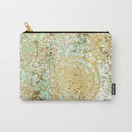 Mint and Gold Radial Splatter Paint Design Carry-All Pouch