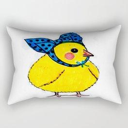 Baby Chick Wears a Blue Bow Rectangular Pillow