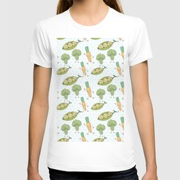 Cute funny greens orange blue polka dots vegetables T-shirt