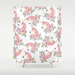 Pink lilac yellow green watercolor magical unicorn floral Shower Curtain