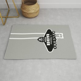 LAS VEGAS RAIDERS SIGN WHITE STAND WITH GREY BACKGROUND Rug