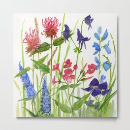 Garden Flowers Botanical Floral Watercolor on Paper Metal Print