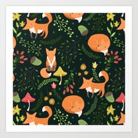 foxes Art Prints featuring Foxes by Julia Badeeva