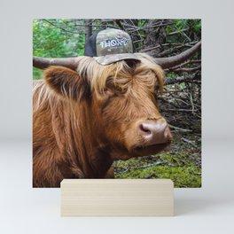 Highland Cow in Ballcap Mini Art Print