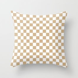 Small Checkered - White and Tan Brown Throw Pillow