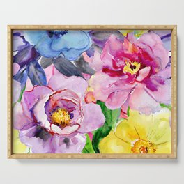 Beautiful and Colorful Flowers Serving Tray