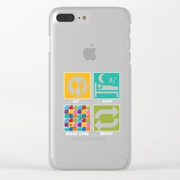 Eat Sleep Board Game Repeat Strategy Gameplay Chess Snakes And Ladders Gift Clear iPhone Case