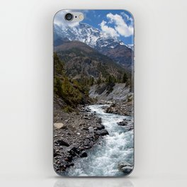River and Mountains en route to Manang iPhone Skin