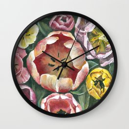 Colorful Spring Tulips Painting Wall Clock