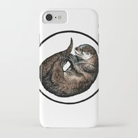otter iPhone & iPod Cases featuring Otter by Natalie Toms Illustration