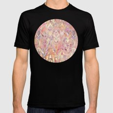 Glowing Coral and Amethyst Art Deco Pattern Mens Fitted Tee MEDIUM Black