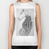 sea horse Biker Tanks featuring Sea Horse by Stephanie Darling