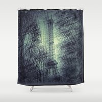 eiffel tower Shower Curtains featuring Eiffel Tower by Jean-François Dupuis