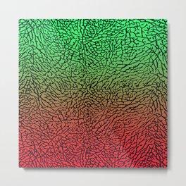 Green/Red Elephant Skin Metal Print