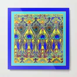 Decorative Blue Peacock Art Nouveau Themed Design Metal Print
