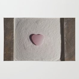 Rose Quartz heart in a zen garden Rug