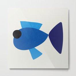 Abstarct blue fish - shapes Metal Print