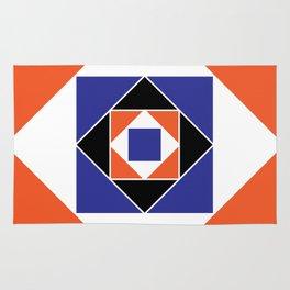 Orange and Blue Squares Rug