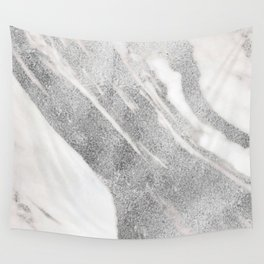 Marble - Silver Glitter on White Metallic Marble Pattern Wall Tapestry