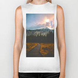 Path leading to Mountain Paradise Mountain Snow Capped Pine trees Tall Grass Sunrise Landscape Biker Tank