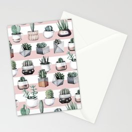 Potted Cactus Stripes Pink Rose Gold Stationery Cards