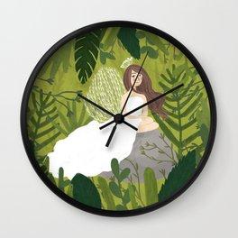 The spirit of a white peafowl Wall Clock