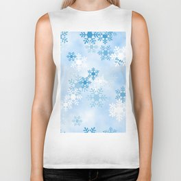 Blue White Winter Snowflakes Design Biker Tank