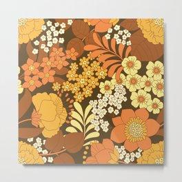 Brown, Yellow, Orange & Ivory Retro Flowers Metal Print