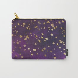 Dark Purple Gold Stars Carry-All Pouch