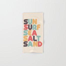 Sun Surf Sea Salt Sand Typography - Retro Rainbow Hand & Bath Towel