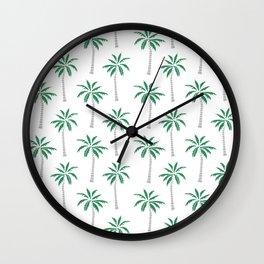 Palm trees tropical minimal ocean seaside socal beach life pattern print Wall Clock