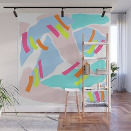 Pastel Paper with Neon Stripe Wall Mural