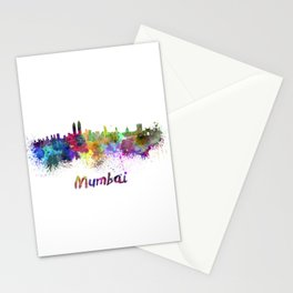 Mumbai skyline in watercolor Stationery Cards
