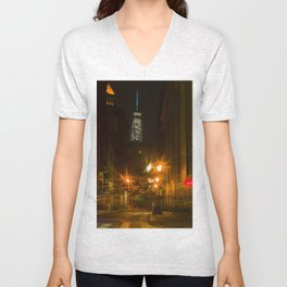 Freedom Tower view from Chinatown. New York City. Unisex V-Neck