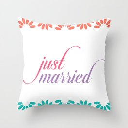 Just married calligraphy typography Throw Pillow