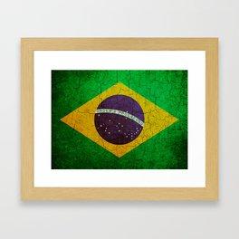 Cracked Brazil flag Framed Art Print