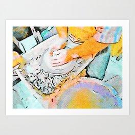 Hands of the ceramist craftsman Art Print