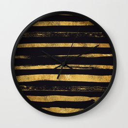 Glam Gold and Black Hand Painted Stripes Wall Clock