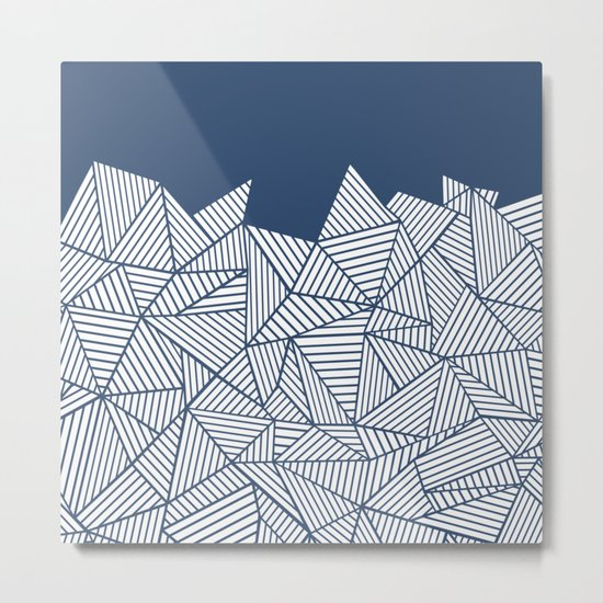 Abstract Mountain Navy Metal Print