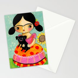 Frida with Black Pug dog by TASCHA Stationery Cards