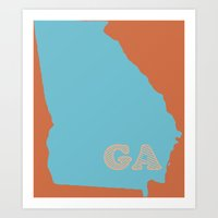 outkast Art Prints featuring The State of Georgia by Lucas John Jensen